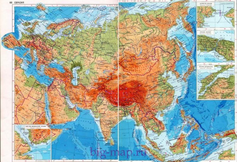 Карта евразии большая карта