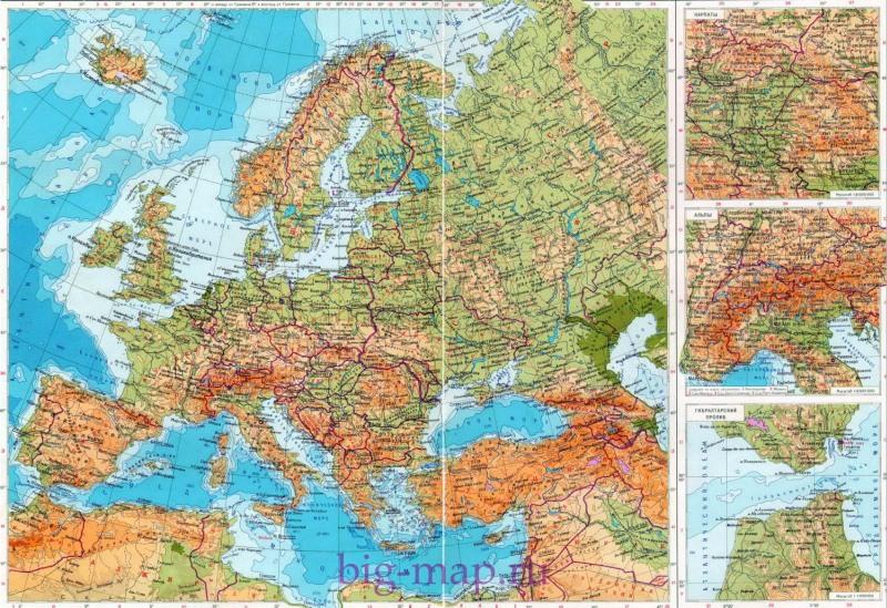 Карта европы карта европы на русском